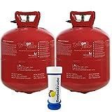 2x Helium Ballongas 0,42 m³ (Gesamt 0,84 m³) für ca. 100 Luftballons Ø 23 cm Einweg Gas Folienballon Ballon + Gratis Doriantrade Seifenblasen