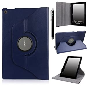 E LV 360 Degrees Rotating Stand Leather Smart Case for Sony Xperia Tablet Z 10.1inch with 1 Stylus and Microfiber Digital Cleaner (Sony Xperia Tablet Z, Dark Blue)
