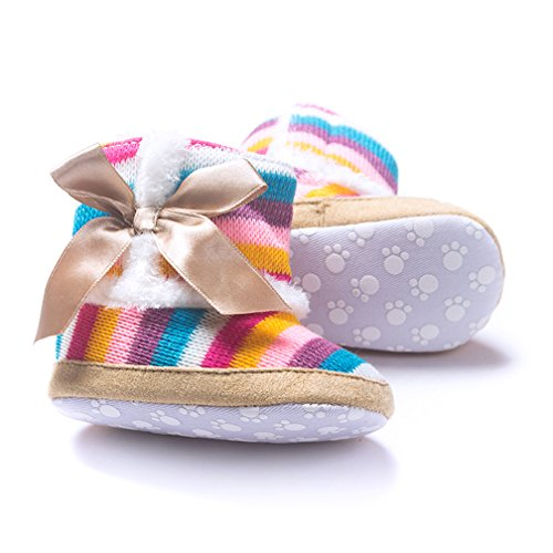 Iversan Baby Girl striation Rainbow Cotton Knit Premium Soft Sole Anti Slip Warm Winter Infant Prewalker Toddler Cute Snow Boots With Bowknot (S:0-6 Months)