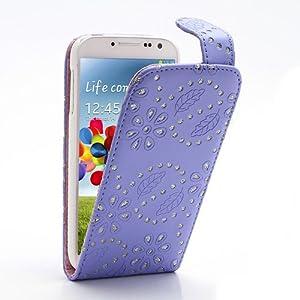 iProtect TPU Leder Flip Case Samsung Galaxy S4 Hülle Strass lila