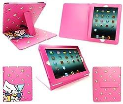 Emartbuy® iPad 3 & iPad 2 Multifunctional / Multi Angle Wallet / Typing Case With Magnetic Sleep Wake Sensor Patchwork Cat Hot Pink
