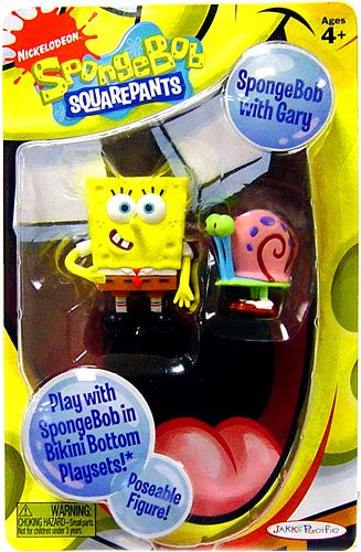 Buy Low Price Jakks Pacific Spongebob Squarepants Poseable Character Figure with Gary (B002NO22X4)