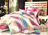 Dexim Cotton striped pattern Printed Bed Sheet with two pillow cover SetSet - King size, multicolor