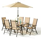 8 Piece Santorini Garden and Patio Set -New 2014 Model, Now With 100% Aluminium Framework-6 x Multi Position Recliner Chairs-Table And 2.2 Metre Tilt and Crank Parasol.