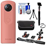 Ricoh Theta SC 360-Degree Spherical Digital Camera (Pink) with Helmet Mounts + Case + Selfie Stick + Mini Tripod + Kit