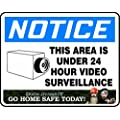 """Accuform Signs DDSS138AVP Plastic Duck Dynasty Safety Sign, Legend """"NOTICE THIS AREA IS UNDER 24 HOUR VIDEO SURVEILLANCE"""", Footer """"GO HOME SAFE TODAY!"""", 8.5"""" Length x 10"""" Width x 0.055"""" Thickness, Blue/Black on White"""