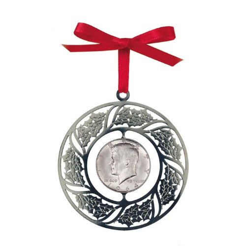 JFK Half Dollar Wreath Christmas Ornament