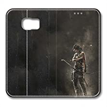 buy S6 Leather Case Pu Material Hard Shell Flip Credit Card Holder Magnetic Stand Video Game Logo Poster Pattern Character Screen Adventure Fighting Galaxy S6-Tomb Raider Lara Croft 16