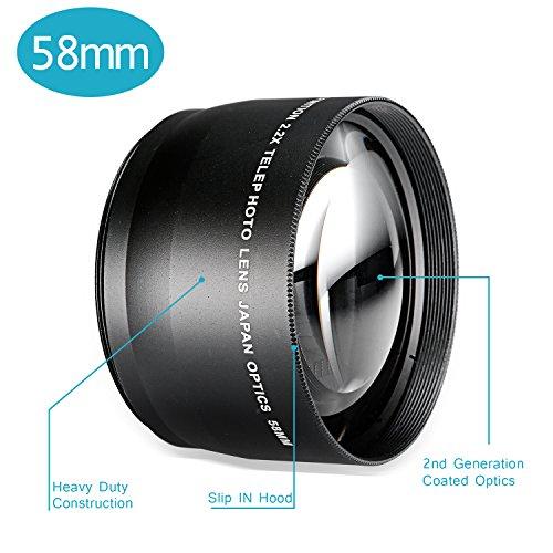 Neewer® 58mm 2.2X Teleobiettivo con panno di pulizia in microfibra per CANON Rebel (T6s T6i T5i T4i T3i T3T2i T1i XT XTi XSi SL1), EOS (700d 650d 600d 1100d 550d 500d 100d) fotocamere e più