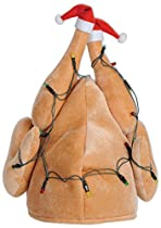 Beistle 1-Pack Plush Light-Up Christmas Turkey Hat