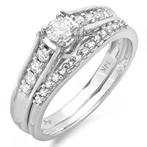 Charming Diamond Wedding Ring set Half Carat Round Cut Diamond on 14k Gold