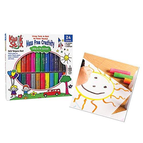 Pencil Grip Kwikstix Solid Tempera Paint 24ct, Super Quick Drying, 12 Classic, 6 Neon, 6 Metallix Colors (TPG-604) (Neon Tempera Paint compare prices)