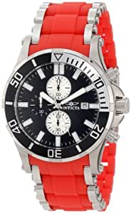 Invicta Men's 80135 Sea Spider Chronograph Black Dial Red Polyurethane Watch