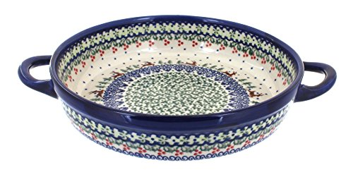 polish-pottery-reindeer-delight-small-round-baker-with-handles