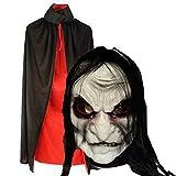【リアルに怖い ハロウィン オニババ マスク】悪魔 こすぷれ ゾンビ 赤・黒マント 付き フリー