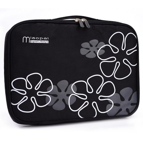 [Nylon Tote] BLACK FLORAL PRINT - Universal 12-inch Notebook Tote / Laptop Bag for Fujitsu 12.1