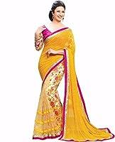 Khodiyar Creation Women's Chiffon Printed Saree (S-260_Yellow And Pink)