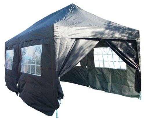 Quictent 3x6 Meter Black Pop Up Gazebo Canopy Silver-coated Waterproof With Sidewalls and Bag