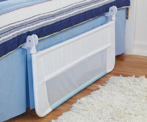 munchkin safety toddler bed rail white blue discontinued by import it all. Black Bedroom Furniture Sets. Home Design Ideas