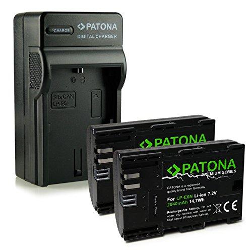 PATONA 4in1 Caricabatteria + 2x Premium Batteria LP-E6 | LP-E6N per Canon EOS 5D | 5D Mark II | 5D Mark III | 5DS | 5DS R | 60D | 60Da | 6D | 70D | 7D | 7D Mark II | 80D | Mark II | Mark III | R 5D