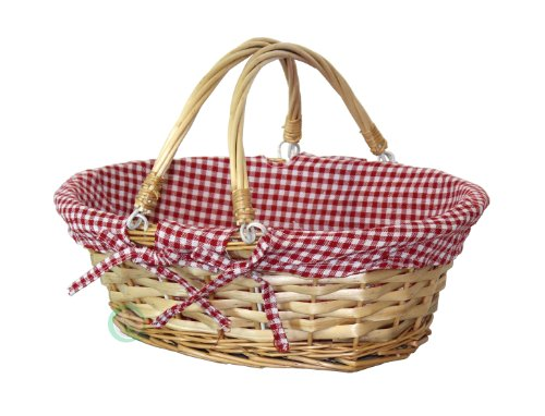 Vintiquewise(TM) Oval Willow Basket with Red White Plaid Lining and Handles (Little Red Riding Hood Basket compare prices)