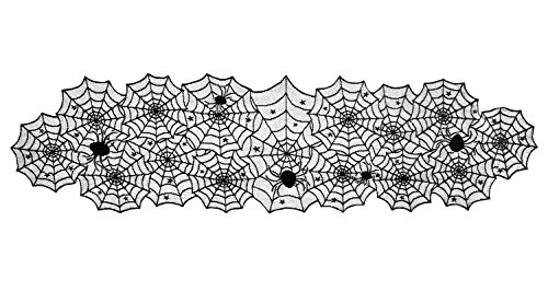 DII Halloween Lace Table Runner for Halloween Parties, Décor, Dinners, 18 by 72-Inch, Black