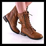 Battle 02 by Bamboo Womens Chestnut Brown Midcalf Laceup Lug Sole Combat Boots
