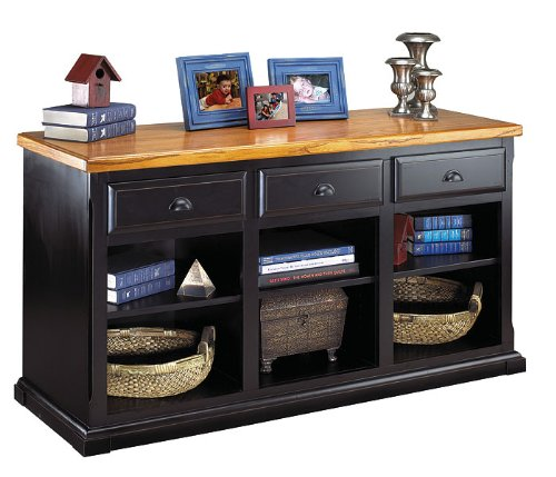 Southampton Onyx Three Drawer Console Medium Oak Top/Southampton Black Onyx