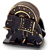 Jaipur Raga Elephant Design Wooden Tea Coaster Handicraft Gemstone Coaster