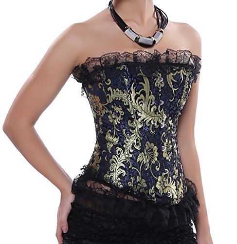 Wuhu C803 Women's Vintage Brocade Overbust Lace Trim Corset Top Plus Size