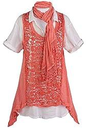 Women's Coral Crochet 3-Piece Tunic Vest Set