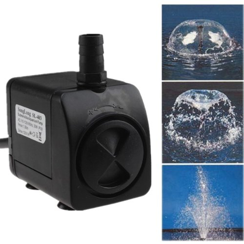 AGPtek Silent Operation Electric Submersible Water Fountain Pump for Indoor/Outdoor Use - 20 Watts 320GPH 6ft cable length