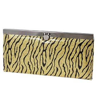 Zebra Pattern Flip Lock Closure Cash Wallet Purse Yellow Black for Women