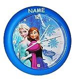 """Wanduhr - """" Disney die Eiskönigin - Frozen """" incl. Namen - 26 cm groß - sehr leise ! - Uhr - Analog - Wohnzimmer & Kinderzimmer - für Jungen Mädchen Kinder - völlig unverfroren Prinzessin Elsa Anna Arendelle - Olaf"""