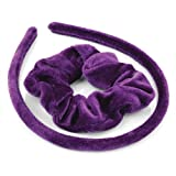 Hair Set Purple Velvet Fabric Covered Alice Band and Scrunchie Hair Band Set