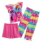 My Little Pony Girls 3 Piece Top & Bottom Pajama Set (4T)