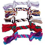 MAKIYO Dog Puppy Pet Cotton Multicolor Braided Bone Rope Chew Knot Toy Home Funny Tool