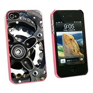 Graphics and More Bicycle Bike Gears Wheels - Snap On Hard Protective Case for Apple iPhone 4 4S - Pink - Carrying Case - Non-Retail Packaging - Pink