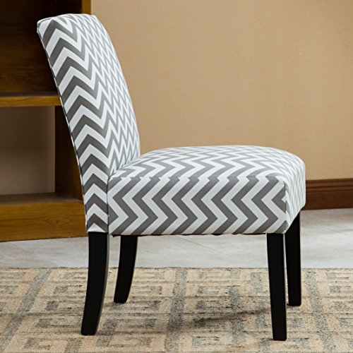Roundhill furniture botticelli grey wave print fabric for Grey single chair