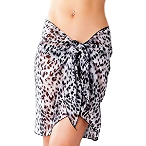 Short Animal Print Black Swimsuit Sarong Cover Up with Built in Ties One Size