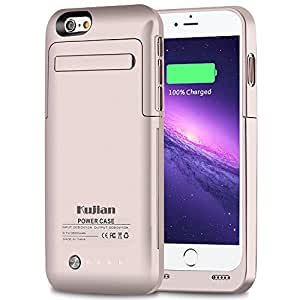 iPhone 6S 6 Battery Case Kujian 3500 mAh External Battery Charger Case 4.7 inch With Kickstand 4 Led Light Indicators SYNC CE Rohs PC CE Certification (Gold)