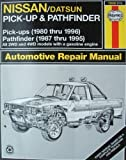 img - for Nissan Pick-Ups Automotive Repair Manual: Nissan/Datsun Pickups 1980 Through 1996/Pathfinder 1987 Through 1995 (Hayne's Automotive Repair Manual) book / textbook / text book