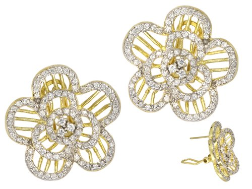 Flower Shape Two Tone Set With Glittering C.Z. (.925) Sterling Silver Earring (Nice Holiday Gift, Special Black Firday Sale)