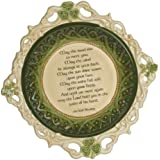 """Grasslands Road Celtic 2-Inch by 10-1/2-Inch by 10-1/2-Inch """"May The Road Rise.."""" Irish Blessing Shamrock Dish with Stand"""
