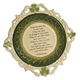 "Grasslands Road Celtic 2-Inch by 10-1/2-Inch by 10-1/2-Inch ""May The Road Rise.."" Irish Blessing Shamrock Dish with Stand"