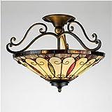 Felice Tiffany Style Semi Flush Ceiling Light