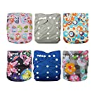 Besto Baby 6pcs Pack All In One Washable Fitted Pocket Cloth Diaper Nappies 6 Diaper Covers + 6 Inserts (Girl Flower)