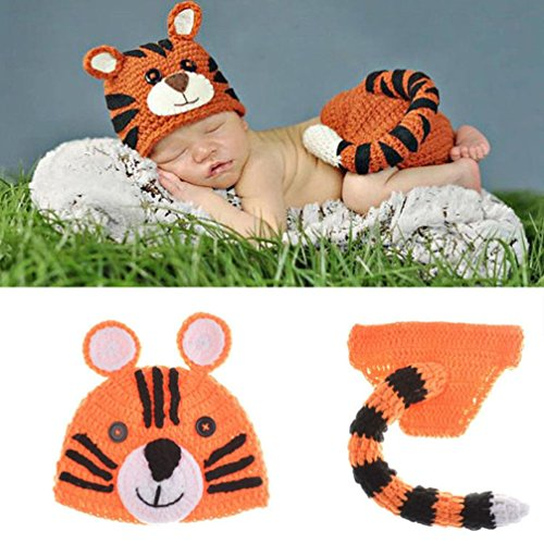 Mosunx® Newborn Baby Cute Tiger Tail Knit Hat Costume Photography Prop Outfit Set