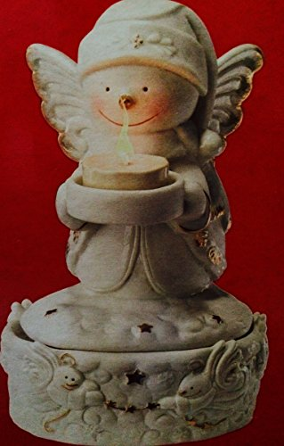 Musical Porcelain Snow Angel Traditional Elegance Ivory Bisque Gold Accents