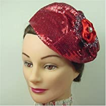 Fascinator - Red French Couture Sequin Beret